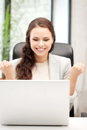 wireless woman work working: picture of happy woman with laptop computer Stock Photo