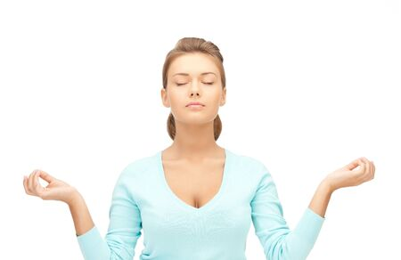 bright picture of beautiful woman in meditation photo