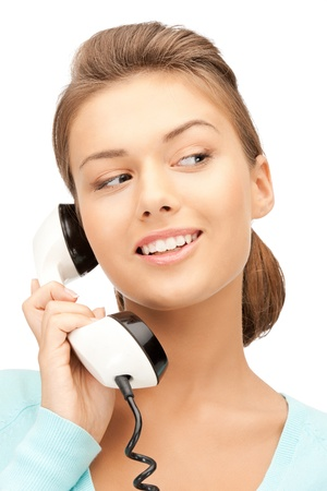 calling on phone: bright picture of happy businesswoman with phone Stock Photo