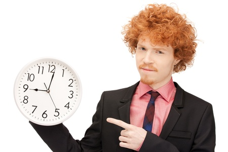 bright picture of handsome man with clock photo