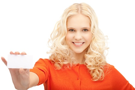 bright picture of confident woman with business card Stock Photo - 10872501