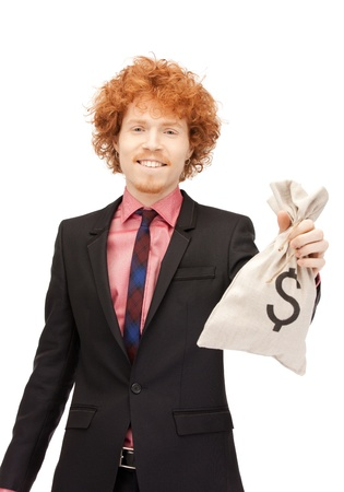 money bags: picture of man with dollar signed bag Stock Photo