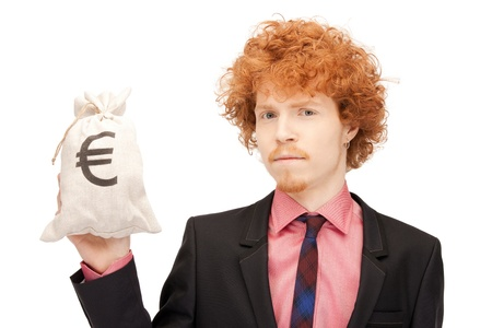 signed: picture of man with euro signed bag
