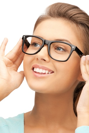 closeup picture of lovely woman in spectacles photo