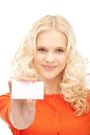 notecard: bright picture of confident woman with business card Stock Photo