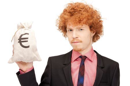 picture of man with euro signed bag photo