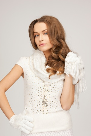 picture of beautiful woman in white sweater photo