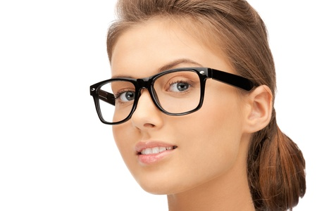 eyewear: closeup picture of lovely woman in spectacles