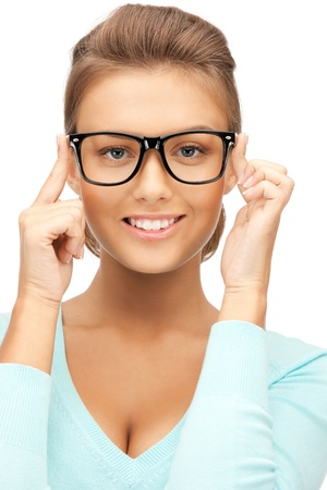 nerd girl: closeup picture of lovely woman in spectacles