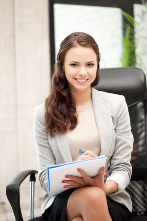 picture of happy woman with big notepad Stock Photo - 11022982