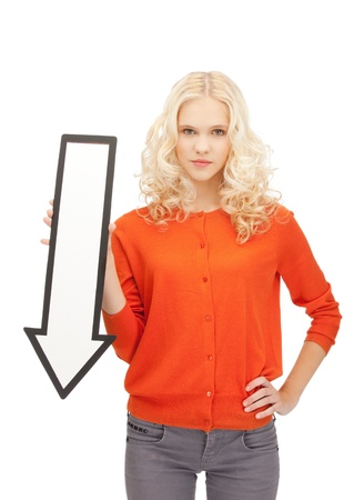 picture of attractive businesswoman with direction arrow sign photo