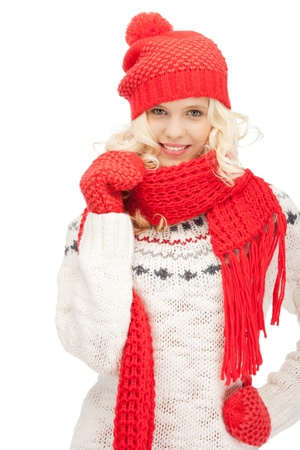 mittens: bright picture of beautiful woman in hat, muffler and mittens