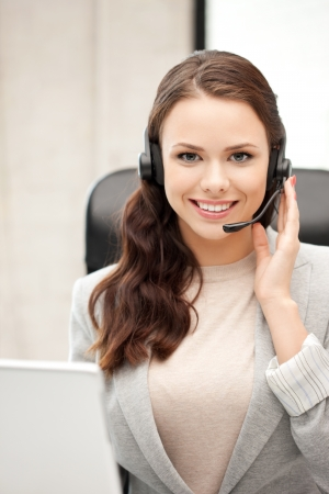 picture of helpline operator with laptop computer Stock Photo - 11023233