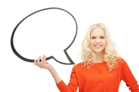 bright picture of smiling businesswoman with blank text bubble Stock Photo - 11023237