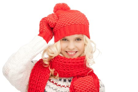 bright picture of beautiful woman in hat, muffler and mittens Stock Photo - 11093962