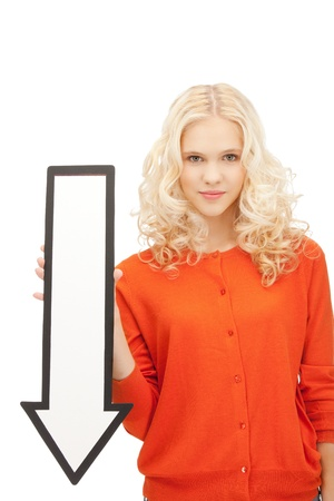 calm down: picture of attractive businesswoman with direction arrow sign