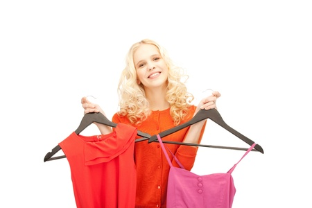 bright picture of lovely woman with clothes photo