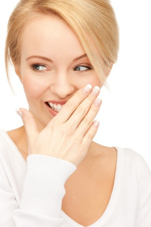 bruit: bright closeup picture of beautiful laughing woman Stock Photo