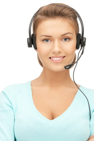 support agent: bright picture of friendly female helpline operator