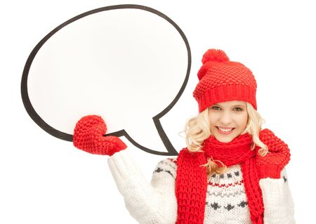 winter woman: bright picture of smiling woman with blank text bubble Stock Photo
