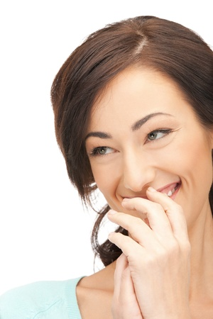 tattle: bright closeup picture of beautiful laughing woman.