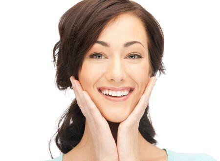 éxtasis: imagen brillante de mujer feliz con expresión de sorpresa.