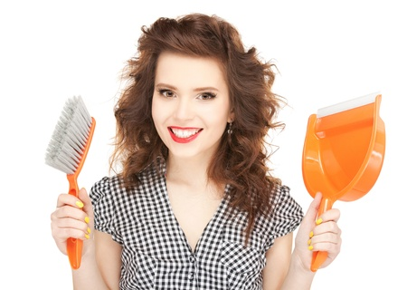picture of beautiful woman with cleaning sweep Stock Photo - 11329037