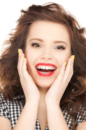 euphoric: bright picture of happy woman with expression of surprise