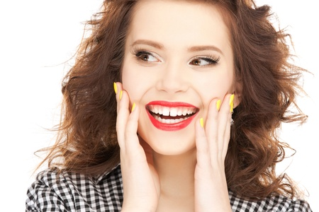 speechless: bright picture of happy woman with expression of surprise