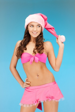 picture of cheerful santa helper girl in lingerie Stock Photo - 11328954