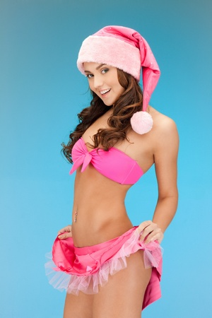 picture of cheerful santa helper girl in lingerie Stock Photo - 11328923