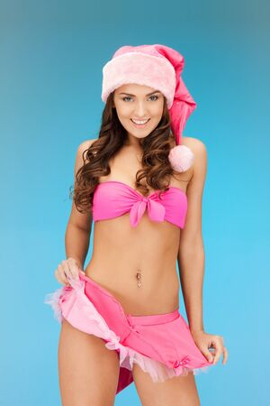 picture of cheerful santa helper girl in lingerie photo