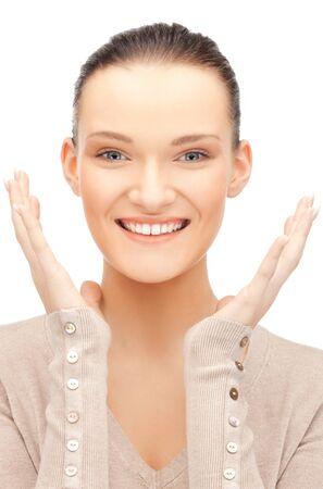 éxtasis: brillante imagen de mujer feliz con expresi?n de sorpresa