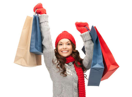 winter woman: picture of lovely woman with shopping bags