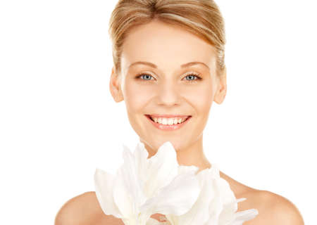 picture of beautiful woman with madonna lily flower Stock Photo - 11508295