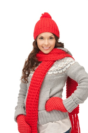 lovely girl: bright picture of beautiful woman in hat, muffler and mittens