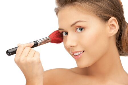 bright closeup portrait picture of beautiful woman with brush Stock Photo - 11668152