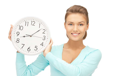 late teens: bright picture of woman holding big clock