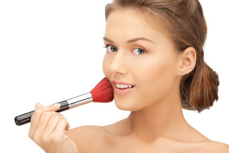 bright closeup portrait picture of beautiful woman with brush Stock Photo - 11668168
