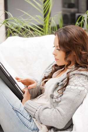 picture of calm woman with tablet pc computer Stock Photo - 11668468