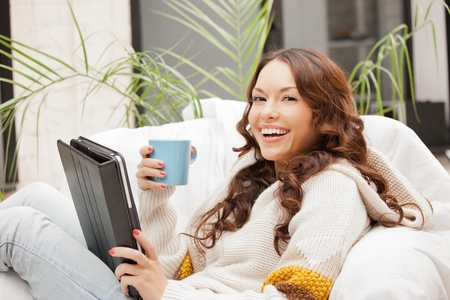 smart girl: picture of happy woman with tablet pc computer