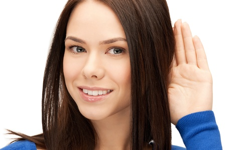 bruit: bright picture of young woman listening gossip. Stock Photo