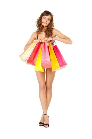 picture of seductive woman in sexy lingerie with shopping bags Stock Photo - 11668492
