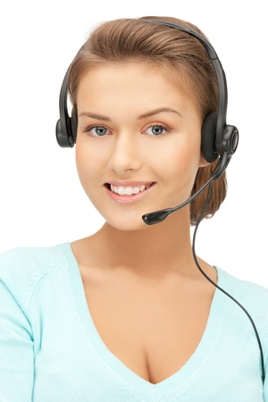 phone operator: bright picture of friendly female helpline operator