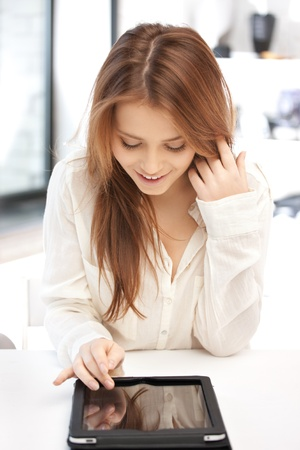 lovely women: picture of happy woman with tablet pc computer