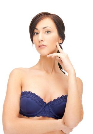 buen vivir: Primer plano de imagen brillante retrato de la hermosa mujer en sujetador