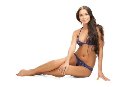 tanned girl: bright picture of beautiful woman in bikini