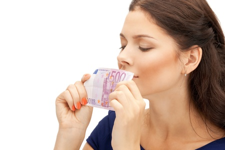 picture of lovely woman with euro cash money Stock Photo - 12179343