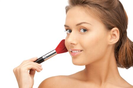 bright closeup portrait picture of beautiful woman with brush Stock Photo - 12179331