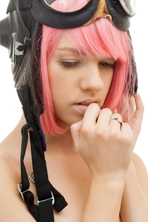 picture of pink hair girl in aviator helmet photo